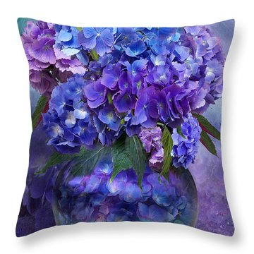 Hydrangeas In Hydrangea Vase Throw Pillow