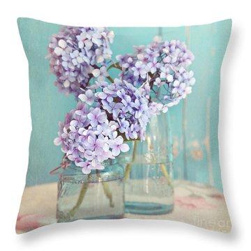 Hydrangeas In Mason Jars Throw Pillow