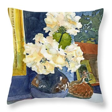 Hydrangeas On Mantle Throw Pillow