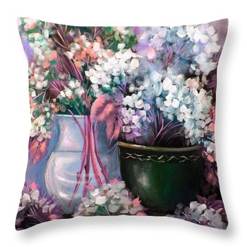 Throw Pillow featuring the painting Hydrangeas Still Life Pink by Patrice Torrillo