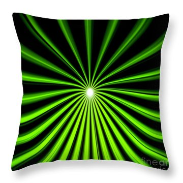 Hyperspace Electric Green Square Throw Pillow