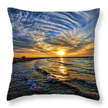 Throw Pillow featuring the photograph Hypnotic Sunset At Israel by Ron Shoshani