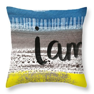 I Am- Abstract Painting Throw Pillow by Linda Woods