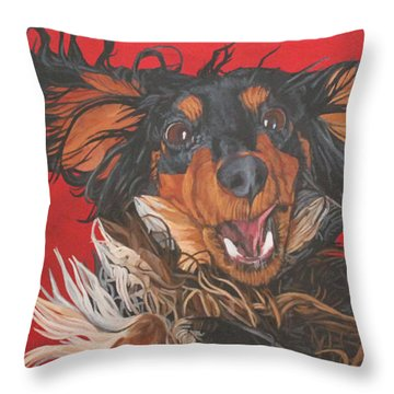 I Am Sooooooo Happy To See You Throw Pillow by Wendy Shoults