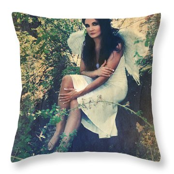 I Believe In Angels Throw Pillow by Laurie Search