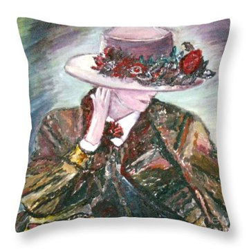 Throw Pillow featuring the painting I Borrowed My Mother's Hat by Helena Bebirian