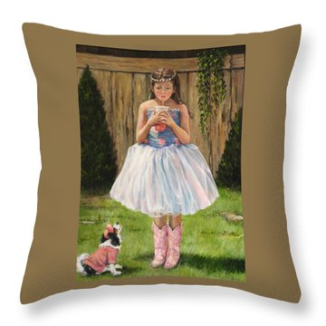 Throw Pillow featuring the painting I Dressed Myself by Donna Tucker