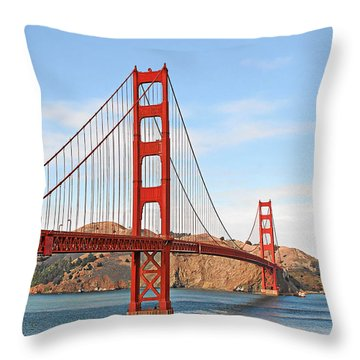 I Guard The California Shore - Golden Gate Bridge San Francisco Ca Throw Pillow by Christine Till