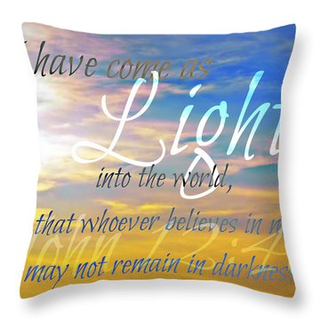 I Have Come As Light Throw Pillow by Sharon Soberon