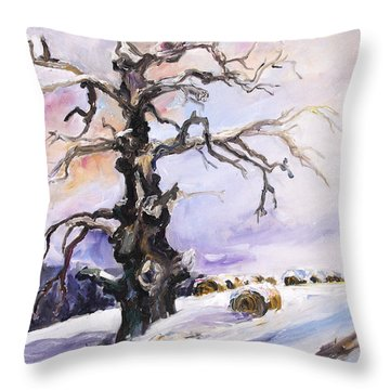 I Have Got Stories To Tell Old Oak Tree In Mecklenburg Germany Throw Pillow by Barbara Pommerenke