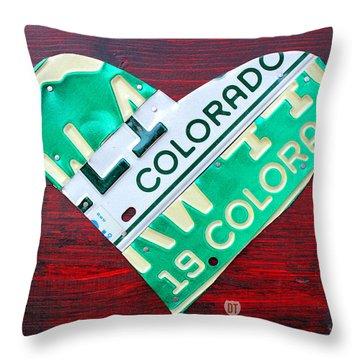 I Heart Colorado License Plate Art Throw Pillow