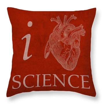 I Heart Science Humor Poster Throw Pillow