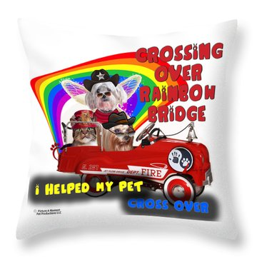 I Helped My Pet Cross Rainbow Bridge Throw Pillow