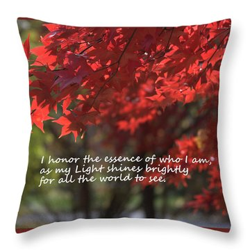 I Honor The Essence Of Who I Am Throw Pillow