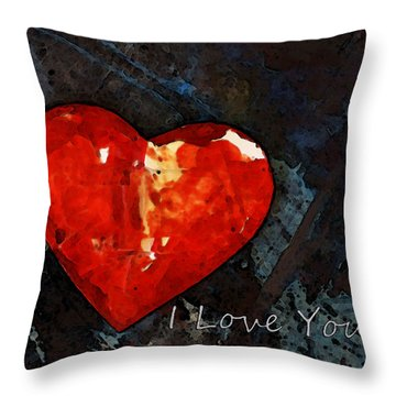 I Just Love You - Red Heart Romantic Art Throw Pillow by Sharon Cummings