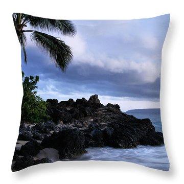 I Ke Kai Hawanawana Eia Kuu Lei Aloha - Paako Beach Maui Hawaii Throw Pillow by Sharon Mau
