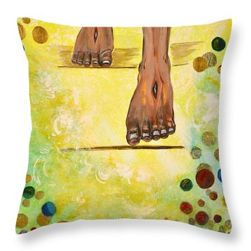 Throw Pillow featuring the painting I Knock by Cassie Sears