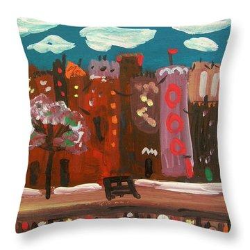 I Love A City Brick Road Throw Pillow by Mary Carol Williams