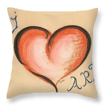 I Love Art Throw Pillow by Teresa White