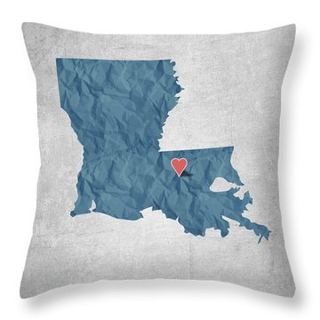 I Love Baton Rouge Louisiana - Blue Throw Pillow