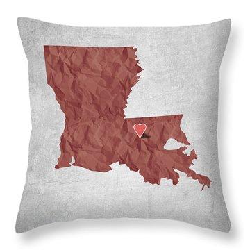 I Love Baton Rouge Louisiana - Red Throw Pillow