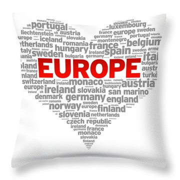 I Love Europe Throw Pillow by Aged Pixel