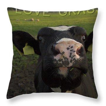 I Love Grass --said The Cow. Throw Pillow
