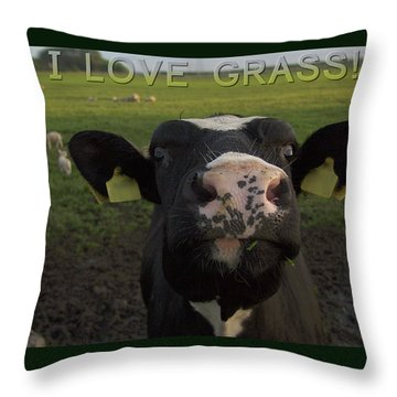 Throw Pillow featuring the photograph I Love Grass --said The Cow. by Luc Van de Steeg