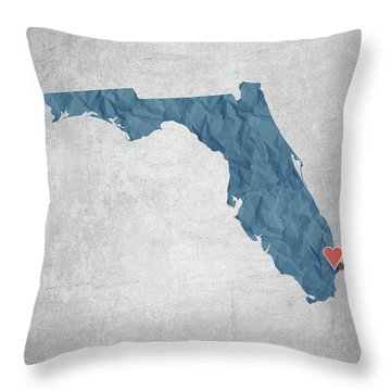 I Love Miami Florida - Blue Throw Pillow