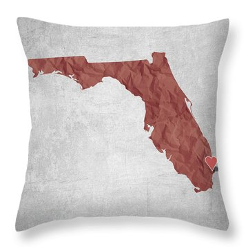I Love Miami Florida - Red Throw Pillow by Aged Pixel