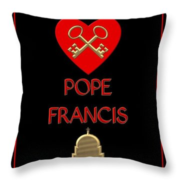 Throw Pillow featuring the digital art I Love Pope Francis by Rose Santuci-Sofranko