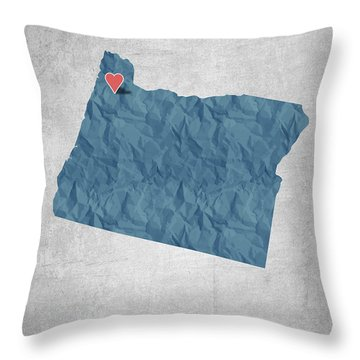 I Love Portland Oregon- Blue Throw Pillow by Aged Pixel