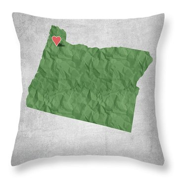I Love Portland Oregon- Green Throw Pillow by Aged Pixel