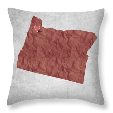 I Love Salem Oregon- Red Throw Pillow