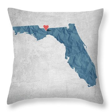 I Love Tallahassee Florida - Blue Throw Pillow by Aged Pixel
