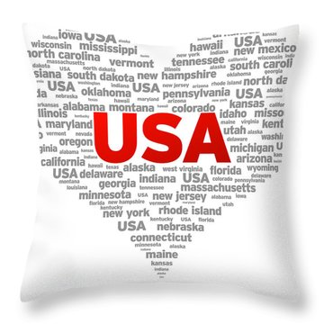 I Love Usa Throw Pillow by Aged Pixel