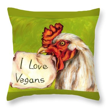 I Love Vegans Throw Pillow
