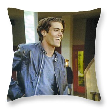 Throw Pillow featuring the painting I Love You Babe by Luis Ludzska