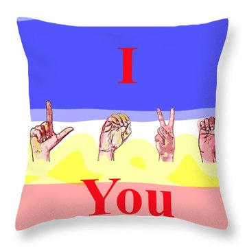 Throw Pillow featuring the mixed media I Love You by Charles Shoup