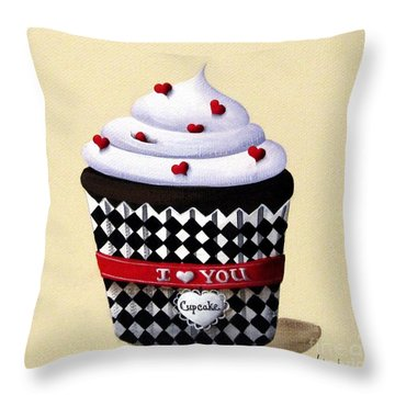 I Love You Cupcake Throw Pillow by Catherine Holman