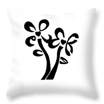 Throw Pillow featuring the drawing I Love You Flowers by Tamir Barkan