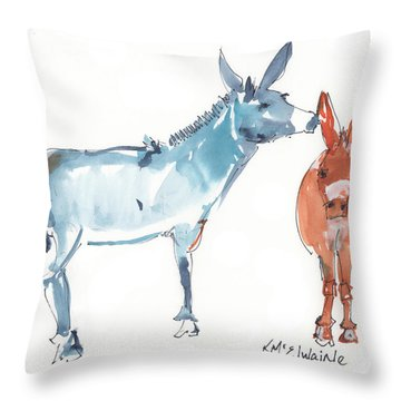 I Love You Donkey Art Watercolor Painting By Kmcelwaine Throw Pillow by Kathleen McElwaine