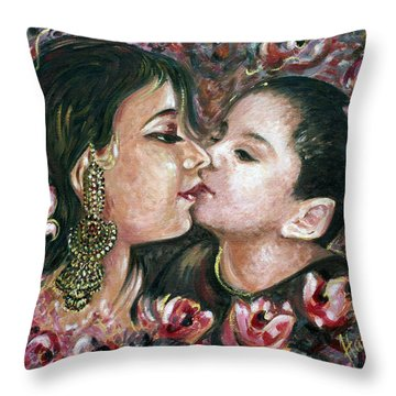 Throw Pillow featuring the painting I Love You Mom by Harsh Malik