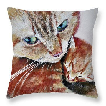 Throw Pillow featuring the drawing I Love You Mommy by Maja Sokolowska