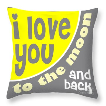 I Love You To The Moon Throw Pillow by Ginny Gaura