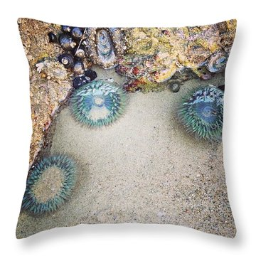 I Met Sea Anemones Throw Pillow by Katie Cupcakes