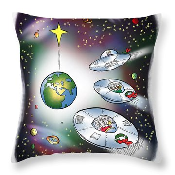 We Three Spacemen Throw Pillow
