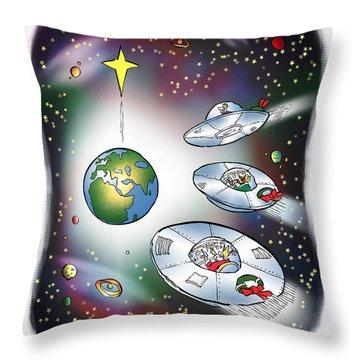 We Three Spacemen Throw Pillow