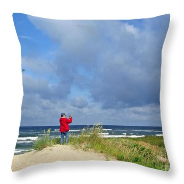 I See The Sea. Juodkrante. Lithuania Throw Pillow by Ausra Huntington nee Paulauskaite