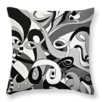 Black White Grey Acrylic Painting, Original Abstract Art, Hidden Eye Art  Throw Pillow